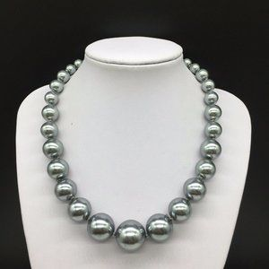 NEW Talbots Gray Faux Pearl Beaded Necklace